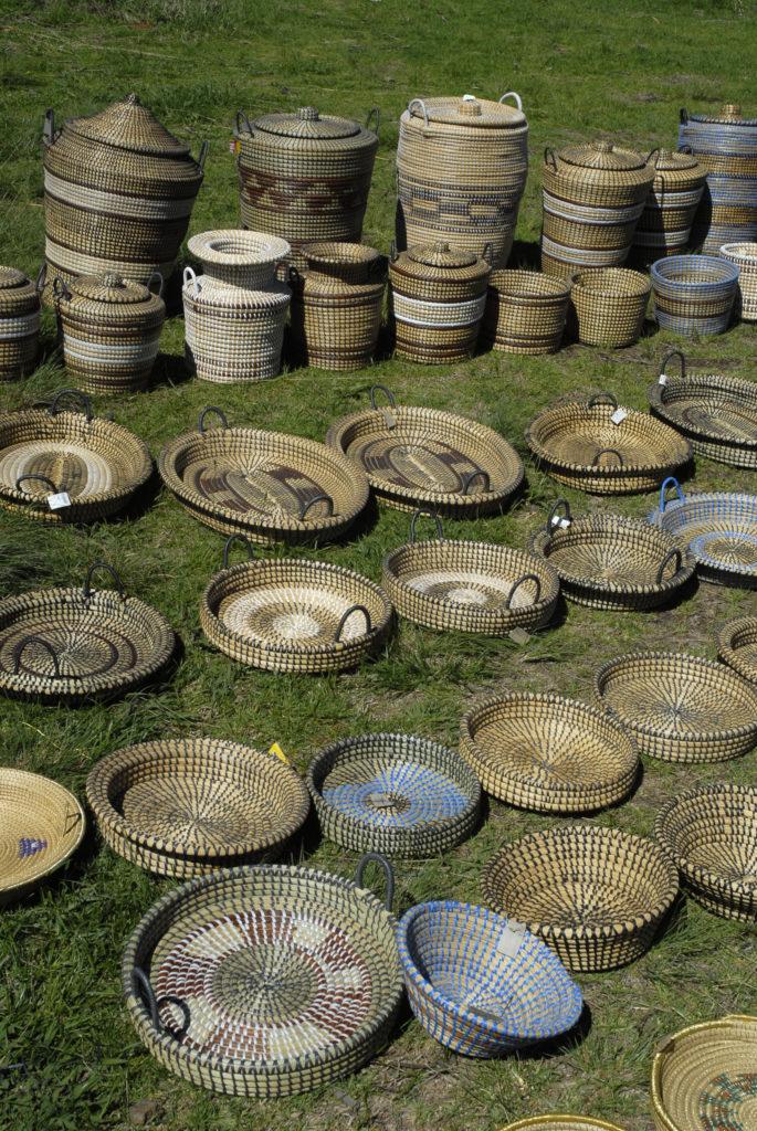 Central Drakensberg, KwaZulu-Natal province: Baskets for sale at a roadside stall