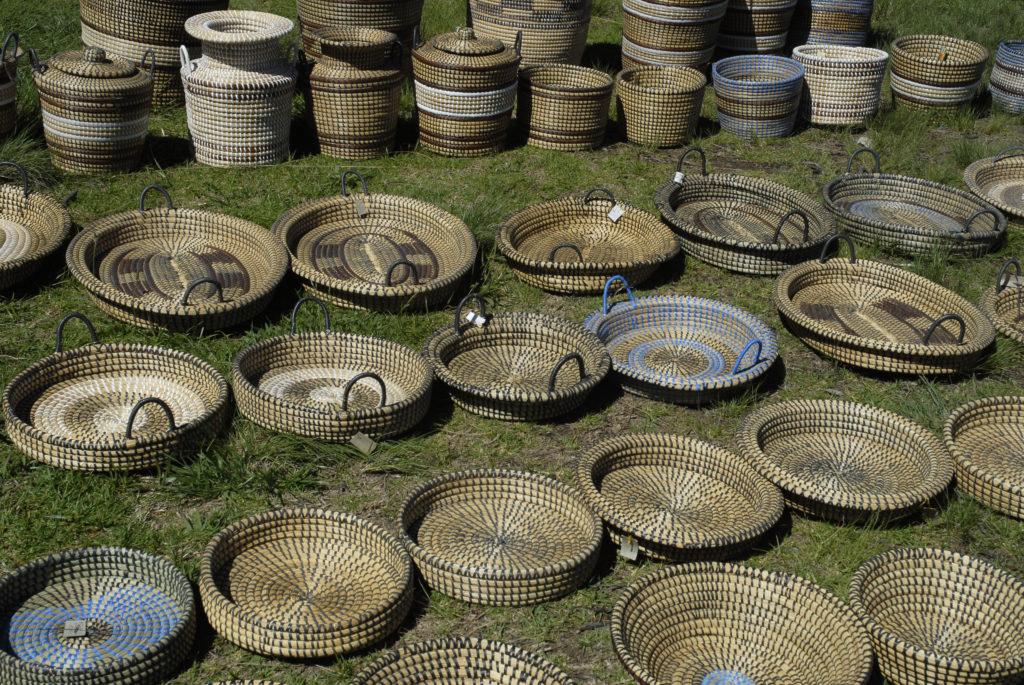 Central Drakensberg, KwaZulu-Natal: Baskets for sale at a roadside stall