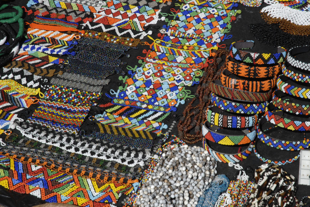 Durban, KwaZulu-Natal province: Beaded craftwork for sale at the beachfront