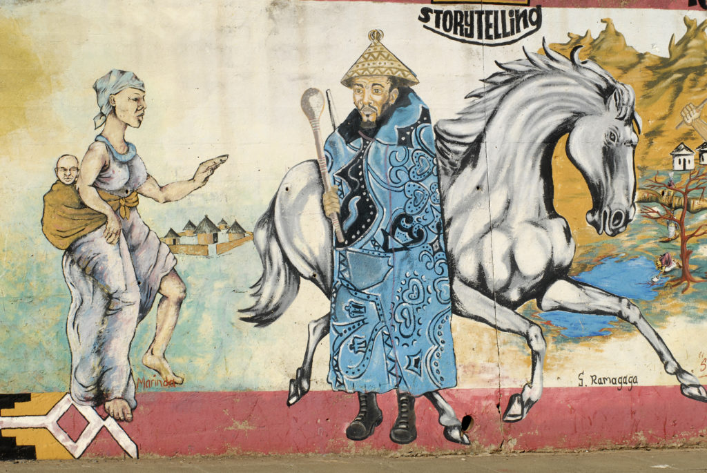 Bloemfontein, Free State: A roadside mural illustrating the tourist highlights of the Free State