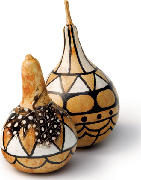 Calabashes painted with bold designs