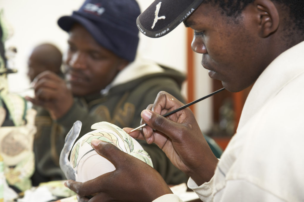 KwaZulu-Natal Midlands: Ceramic painters at work in the Ardmore Ceramics studio