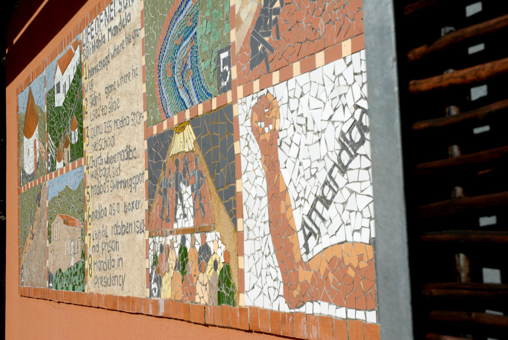 Qunu, Eastern Cape province: A mural at the Nelson Mandela Museum