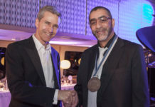 Gift of the Givers founder Dr Imtiaz Sooliman (right) is congratulated by Henley & Partners group chair Christian Kälin at the Global Citizen Award ceremony.
