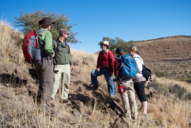 In search of ancient bacteria ... The scientists on a 2014 excursion to collect fossils near the town of Kuruman in South Africa's Northern Cape province.