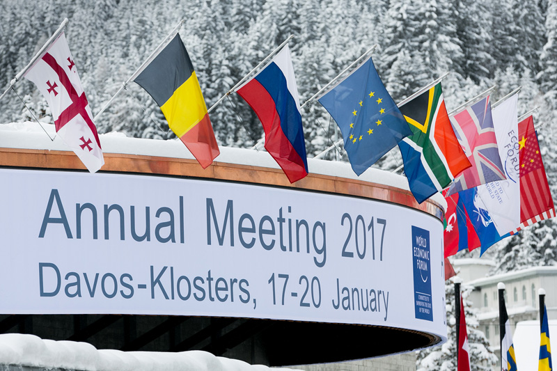 South African flag at WEF Davos