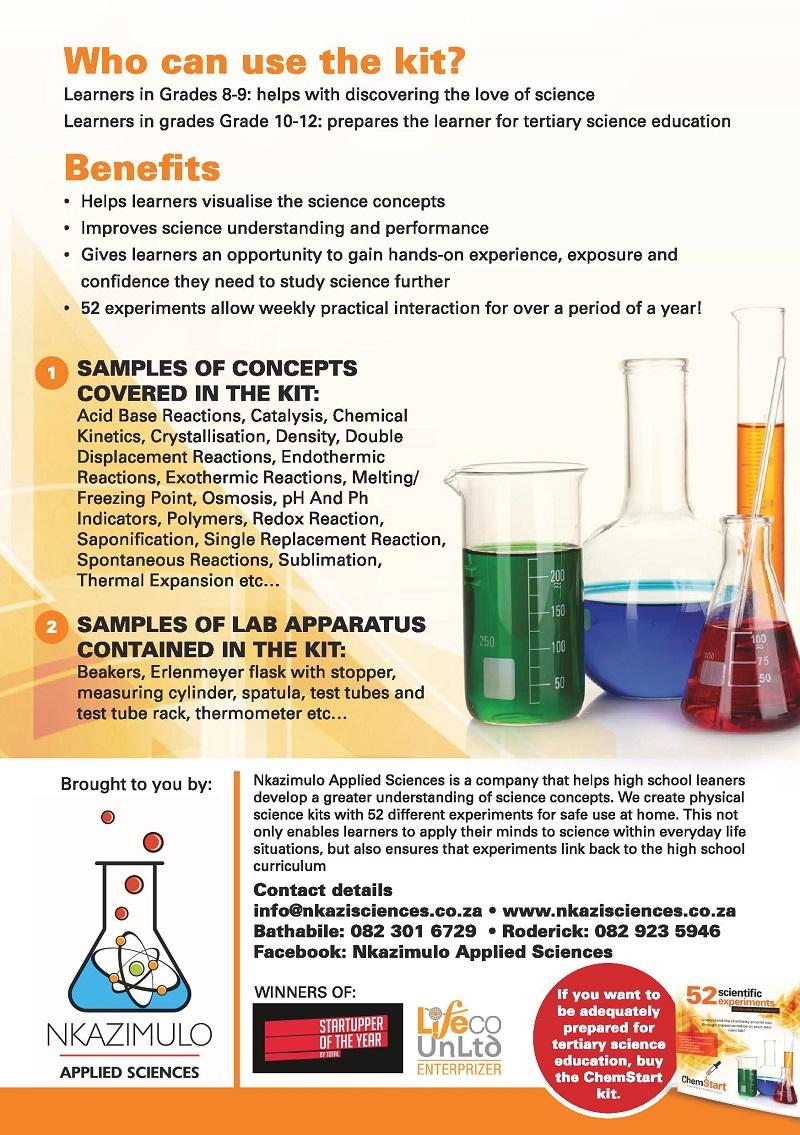 ChemStart kit, Bathabile Mpofu, STEM learning, education in South Africa