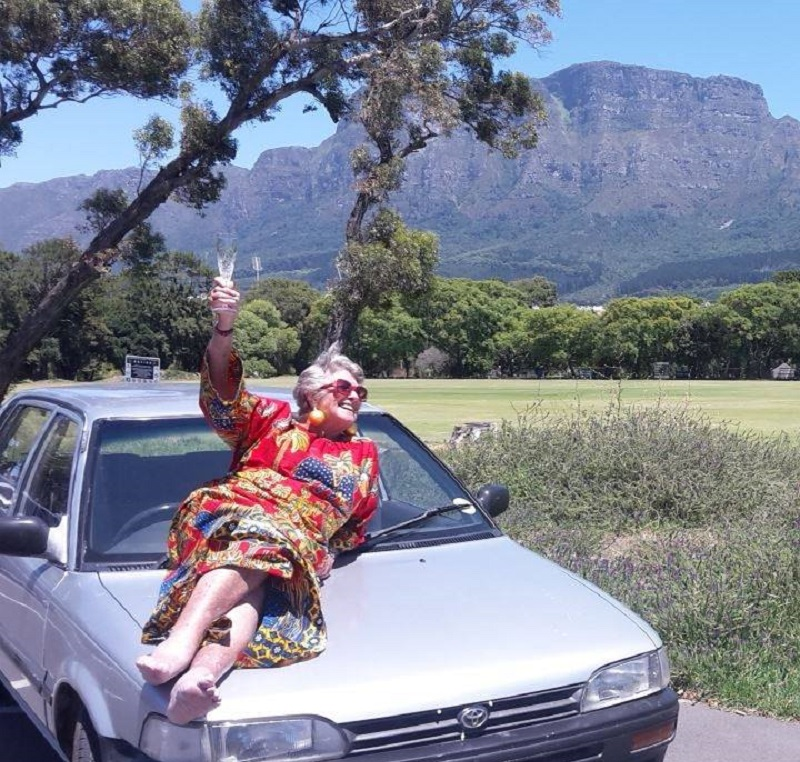 Grandmother Julia Albu is driving across Africa in her 20-year-old Toyota for a literacy charity.