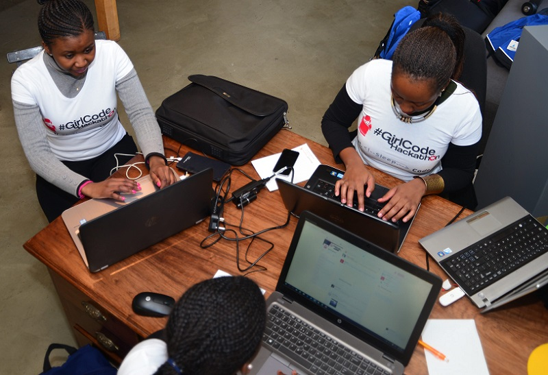 women coding Girl Code ZA students