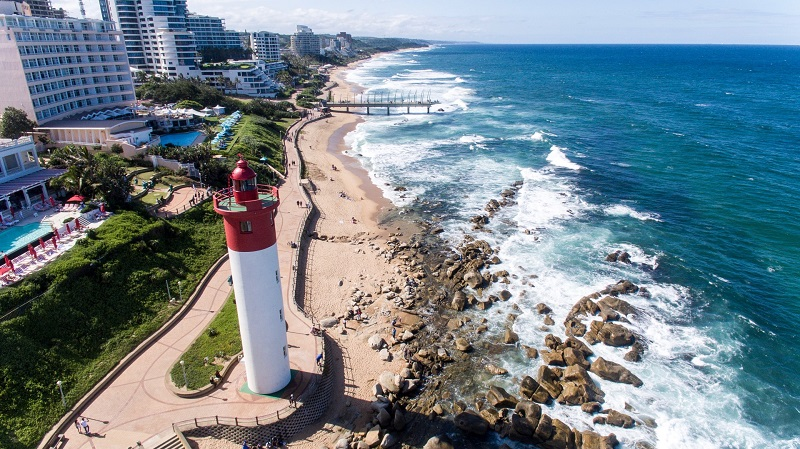"Umhlanga Rocks: Meaning ""the place of reeds"" in Zulu, Umhlanga Rocks makes for a fine getaway for those looking to do some shopping and fine dining. And if you want to stay in luxury with a great view of the ocean, The Oyster Box Hotel should be your first choice. (Image: Caelus Aerial Photography)"