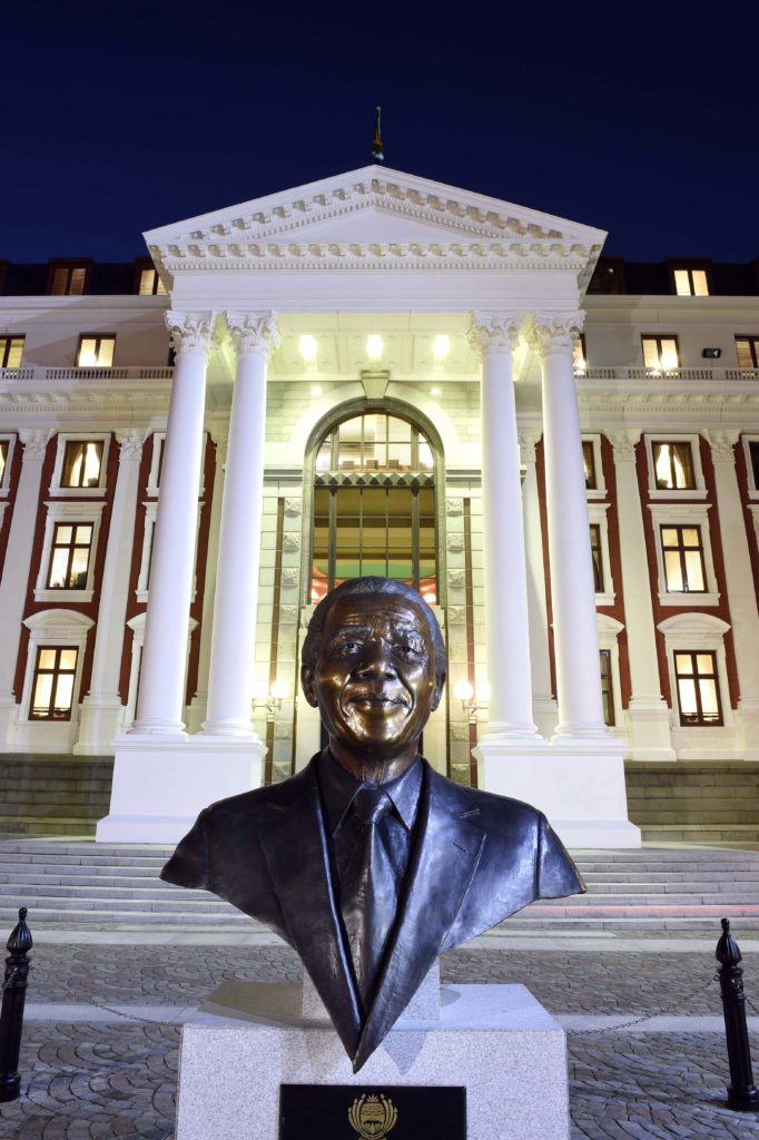 Nelson Mandela statue in front of Parliament, Cape Town, South Africa.