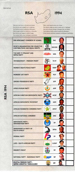 Millions of South Africans used this ballot paper to vote for the first time in 1994. now South Africans living abroad will be able to also cast their votes using a similar one in the 2009 elections.