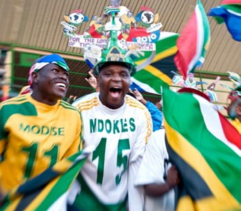 South African soccer fans get behind the national team, Bafana Bafana