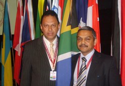 Yusuf Abramjee, Head of Crime Line (right) and Assistance Commissioner Vinesh Moonoo at the CSI conference shortly after South Africa was formally welcomed onto the board of directors