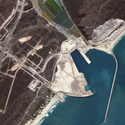 A satellite image of the deep-water Port of Ngqura, and the surrounding infrastructure of the Coega Industrial Development Zone