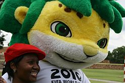 South Africa's 2010 mascot Zakumi interacted with government employees at the Football Fridays launch