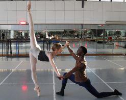 SABT dancers Yolandi Olckers and Patrick Mngeni at a rehearsal
