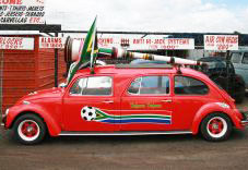 The red Beetle carries a large vuvuzela on its roof
