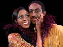 Kelebogile Boikanyo and Aubrey Lodewyk play the parts of lovers Musetta the singer and Marcello the painter in Opera Africa's production of La Bohème