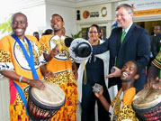 Marthinus van Schalkwyk and performers at the 2009 opening of the Nelson Mandela Bay visitor information centre