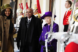 Thobeka Madiba Zuma, Jacob Zuma and Queen Elizabeth at Buckingham Palace in London on 3 March 2010.