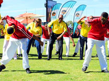 President Jacob Zuma celebrates the 50-day countdown with a rendition of the Diski Dance