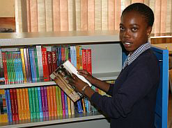 Letsibogo's grade 12 learner Mathapelo Mothapo will have access to various books at the school's library