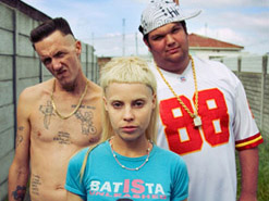The weird and highly popular members of  Die Antwoord: bare-chested  Ninja,  Yo-landi and DJ Hi-Tek
