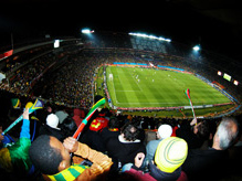 Brazil play Chile in their 2010 Fifa World Cup Round of 16 match at Ellis Park Stadium in Johannesburg on 28 June
