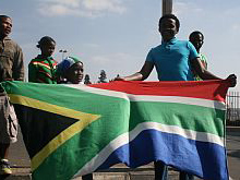 Flying the South African flag on the streets of Soweto