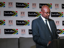 International Marketing Council CEO Miller <br />Matola addresses delegates at a recent <br /> legacy dinner hosted by the council and the <br /> Financial Times. <br />(Image: Nosimilo Ramela)