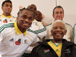 Nelson Mandela with Siphiwe Tshabalala,  the South African football star who scored  the very first goal of the 2010 Fifa World  Cup