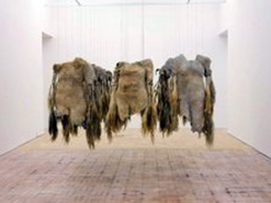 The striking art of Nandipha Mntambo is created from cowhide.