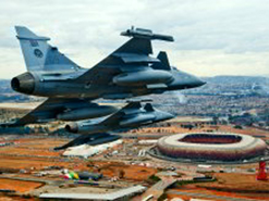 SAAF Gripens patrol the skies over Johannesburg's Soccer City during the 2010 Fifa World Cup.