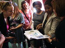 Nomonde Mda, head of Nompumelelo High School in Duncan Village, is surrounded by Dutch teachers from Leiden, part of an information exchange programme that saw the Dutch visitors accompanying their South African counterparts on visits to the poorer schools of Buffalo City.