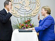 Former Chilean President Michelle Bachelet is sworn in as executive director of UN Women by UN secretary- general Ban Ki-Moon.