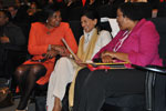 IMC Chairperson Anitha Soni shares a joke with Minister Dina Pule(left) and Deputy Chairperson of the IMC Chichi Maponya(right)