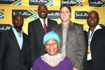 Vusi Mvelase, Miller Matola, Brendon Jewaskiewitz, Thami Masuku and programme director Gcina Mhlophe at the summit