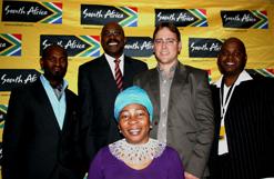 Brand SA trustee Vusi Mvelase, Brand South Africa CEO Miller Matola, Envitech's Brendon Jewaskiewitz, Thami Masuku, of Mpilende Foods, and programme director Gcina Mhlophe at the KwaZulu-Natal summit. (Image: Nicky Rehbock)