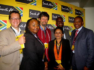 From left, Sybert Liebenberg and Vuyo Zitumane of the Eastern Cape Tourism Agency, Dr Garth Cambray, Brand South Africa trustee Neela Hoosain, Ben Nyaumwe and Iggy Sathekge at the Port Elizabeth stakeholder summit.
