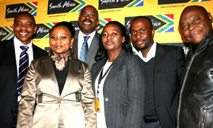 From left, the Brand SA's Iggy Sathekge, Belu  Mdlalo, Miller Matola, Lindiwe Ngcobo, Leo  Makgamathe and Dimape Serenyane at  the Limpopo summit.  (Image: Nicky Rehbock)