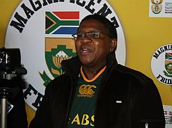 Minister Fikile Mbalula urges South Africans to support national teams.