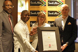 Miller Matola, CEO of Brand South Africa; Thebe Ikalafeng, Chairman of Brand Finance Africa; Nicola van Ast, Senior Manager: Global Brand at MTN; Brian Gouldie, Chief Marketing Officer at MTN