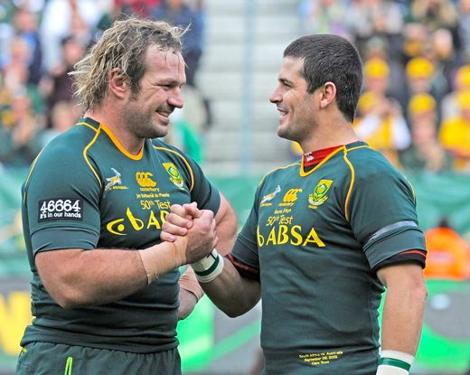 """Bok stalwarts: Saturday's match against the Wallabies marked the 50th cap for both Jannie du Plessis and Morné Steyn. Photo: <a href=""""http://www.facebook.com/springboks"""" target=""""_blank"""">SA Rugby</a>"""