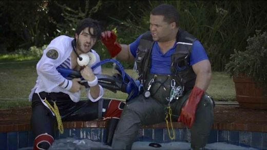 """The Kreepy Krauly Wrangler: a scene from the company's 'mockumentary', which stars Jason Goliath (right) in the hunt for a pool vacuum cleaner. (Image: <a href=""""http://www.youtube.com/watch?v=fNtBCsZzC24"""">YouTube/Kreeply Krauly</a>)"""