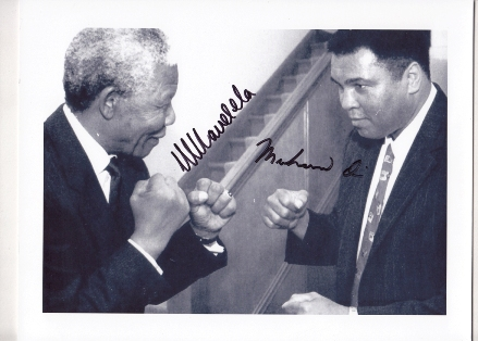 A signed photograph of Nelson Mandela and Muhammed Ali, sold as part of a lot of Mandela memorabilia at a recent auction.