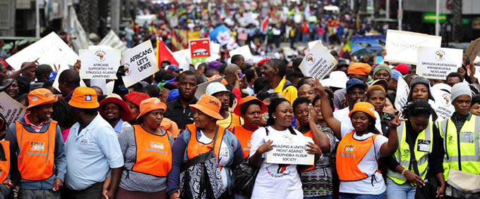Durban xenophobia march page