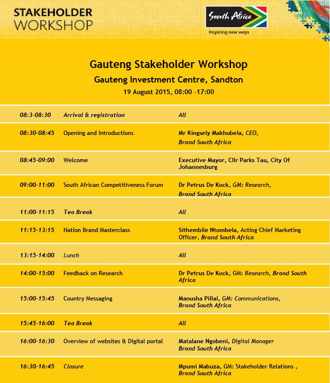 Gauteng Stakeholder Programme
