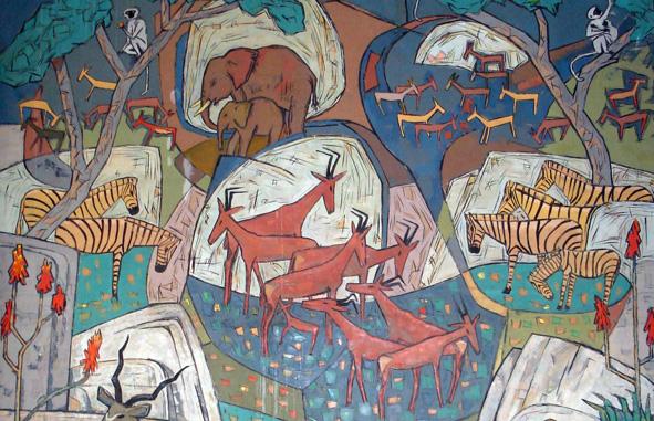 Mural by Walter Battiss in the Pretoria city hall