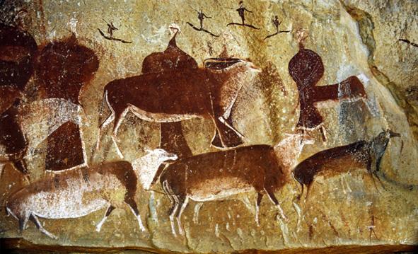 San Bushman rock painting in the Drakensberg range of mountains